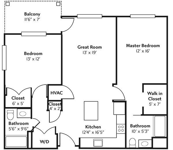 Rivertown Ridge Superior (ADA) Floor Plan.
